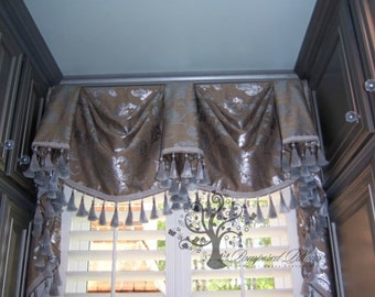 CUSTOM WINDOW VALANCE Kingston with Tails- Your Fabric Made-to-Order - Up to 48 Inches Wide