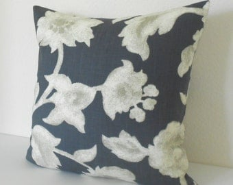 Dark navy blue gray antique floral by Robert Allen decorative pillow cover