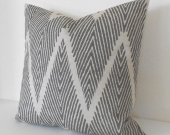 Gray and Tan chevron ikat decorative throw pillow cover