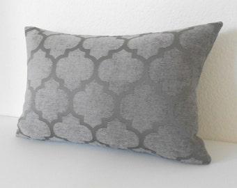 Gray chenille quatrefoil geometric decorative pillow cover, grey geometric velvet pillow
