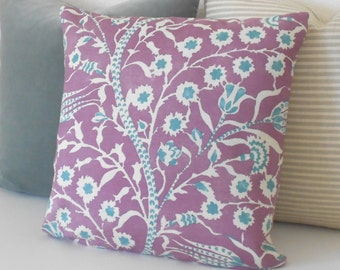 Lilac purple and turquoise floral decorative pillow cover