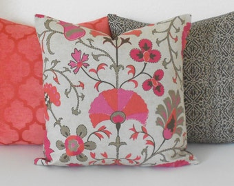 Both sides, Berry red orange coral floral suzani decorative pillow cover