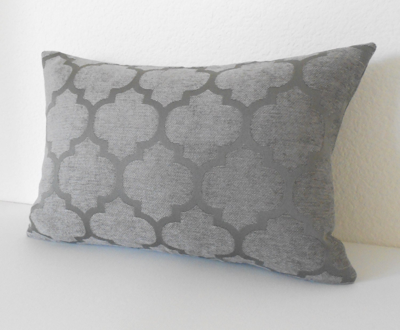 Quatrefoil Decorative Pillow : Gray chenille quatrefoil geometric decorative pillow cover
