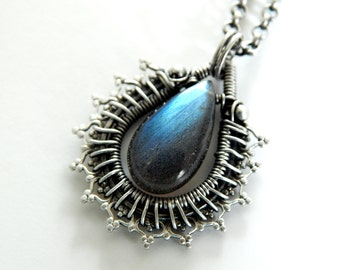 Labradorite Necklace Sterling Silver Wire Wrapped Pendant Artisan Jewelry Sterling Silver Gemstone Necklace