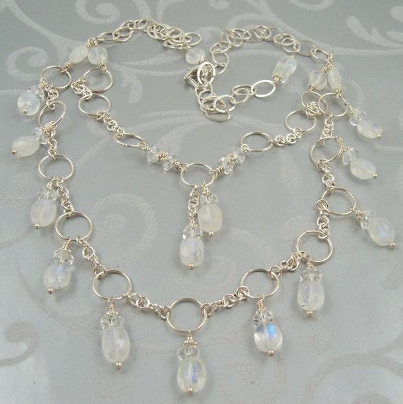 moonstone jewelry gemstone necklace multi strand rainbow