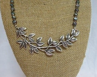 Gray Pearl and Leaf Necklace - Crystal and Pearl Necklace - Women's Necklace - Women's Gift - Jewelry Gift - Fashion Necklace - Gift Idea