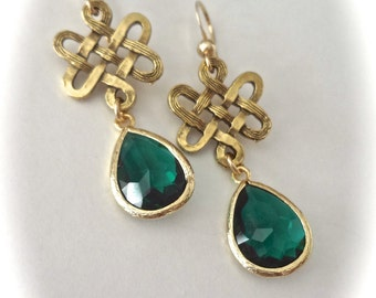 Emerald earrings - Irish - Celtic Knots - Czech glass - Irish wedding jewelry ~ May Birthstone - Birthday gift ~ Christmas gift ~