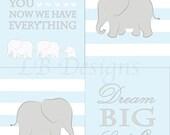 Set of 4 Baby Blue, Gray and White Nursery, Elephant Nursery Prints, Elephant Nursery Decor, Jungle Nursery Art - 8x10s