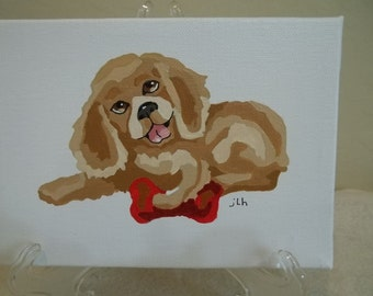 Puppy, with red bone, acrylic paintng on canvas, original,  5x7