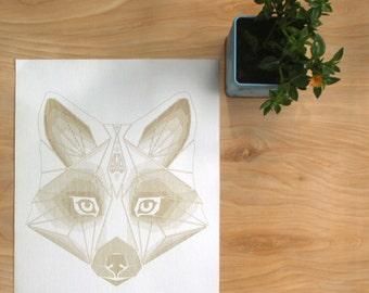 FOXY BABY | Geometric Animal Print, Laser Etched Art Print