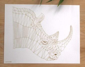 BERMUDA RHINO | Geometric Animal Print, Laser Etched Art Print
