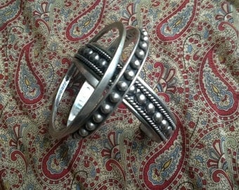 TRIO of antique sterling bangle bracelets
