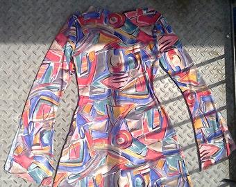 Geometric flared bell sleeve boho festival dress small