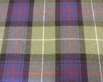 100% yorkshire wool fabric by the metre - purple and green tartan