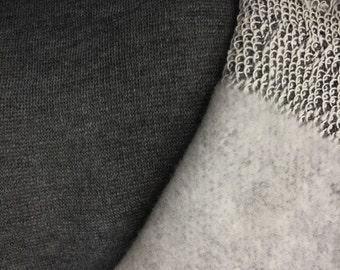 Poly Cotton Sweatshirt Fleece Fabric by the Yard (Charcoal)