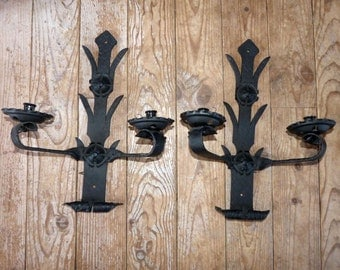 Antique French wall sconces lighting light fixtures, hand forged iron wallsconces country decor rustic French cottage farmhouse lamps lights