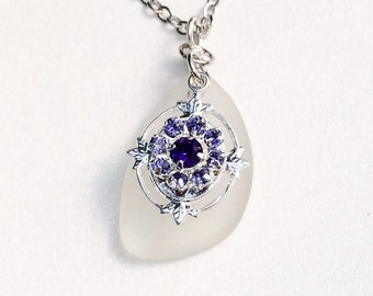 Sea Glass Necklace Purple Rhinestone Stocking Stuffer Christmas Gifts Beach Jewelry Mom Girlfriend Sister Women's Gift