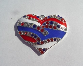 SaLe!! 45mm Enamel and Rhinestone Red, White and Blue Heart Pendants