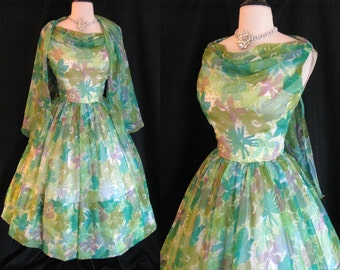 True Vintage 1950s Dress - Chiffon Floral Water Color Party Dress w/ Attached Shawl - Size Small