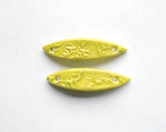 Lime Skinny Bracelet Bar Connector Handmade Ceramic X 1