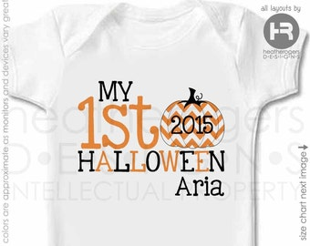 My 1st Halloween Shirt - Personalized Halloween Shirt or Bodysuit - Personalized Chevron Pumpkin Shirt