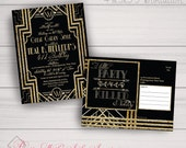 Birthday, Save the Date, Postcard Invitations: Gatsby, Roaring 20s, Gold & Black. Samples, Digital Files, or Printed Orders.