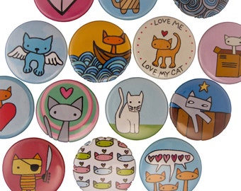 Cat Fancy - Pick your 4 Cat Pinback Buttons - Cat Pins - Cute Cat Drawings