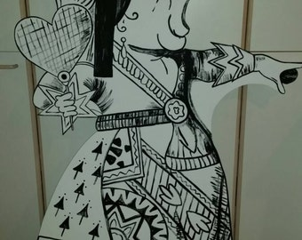 Vintage Black and White - Mad Queen (Alice in Wonderland) Party Prop & Art Decoration