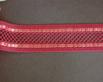 Pink Ribbon Beaded Fishnet Trim