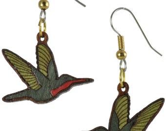 Hummingbird Wood Inlay Dangle Earrings