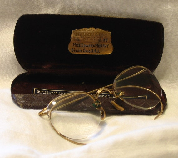 Rimless Eyeglass Frames With Cable Temples : Antique 12K GF Semi-Rimless Eyeglass Frames w/ Cable Wrap