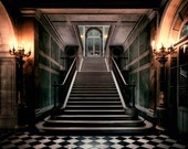 Stair Photograph, Architecture Art, Candlelight Photo, Dark, Dramatic, Mysterious Photo, Night Photography, Versailles France, Wall Art