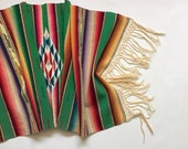 Mexican Serape Saltillo Throw / Table Runner, Tribal Southwest Decor