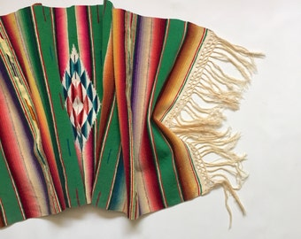 Mexican Serape Saltillo Throw / Table Runner, Tribal Southwest Decor