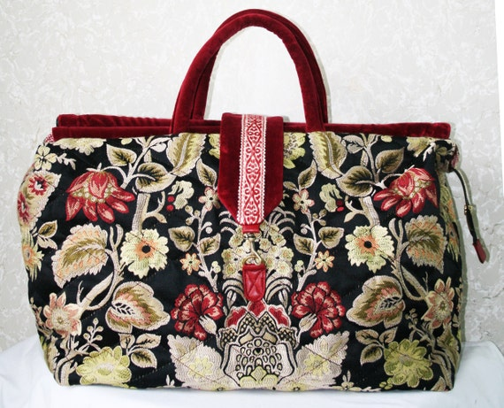 Large Quilted Mary Poppins Carpet Bag By Turtledovebagsetc