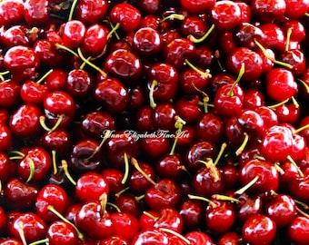 Cherries, Food Photography, Cherry Red, Cherry Photograph, Kitchen Wall Art, Cherry Print, Cherry Stem, Red, Market, Farmer's Market,