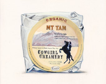Triple-Cream Soft-Ripened Cheese. Original egg tempera illustration from 'The Taste of America' book.