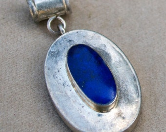 Vintage Afghan Lapis Lazuli Small Pendant Low Grade Silver Jewelry Making Supply Uber Kuchi