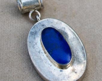 Vintage Afghan Lapis Lazuli Small Pendant Low Grade Silver Jewelry Making Supply Uber Kuchi®