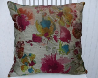 Fuchsia Yellow Floral Pillow Cover- NEW!!  Multi Colored Decorative Throw Pillow- Accent Pillow Lumbar Pillow Cover