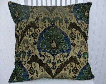 Blue Green Pillow Cover-- Chenille Ikat Pillow Cover Decorative Pillow Cover 18x18 or 20x20 or 22x22 --Throw Pillow Cover