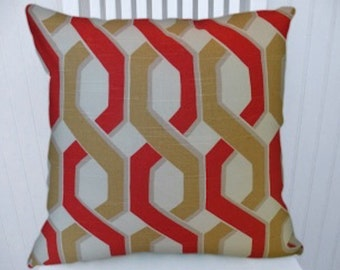 Red Yellow Geometric Pillow Cover Decorative Pillow Cover 18x18 or 20x20 or 22x22 Throw Pillow--Accent Pillow