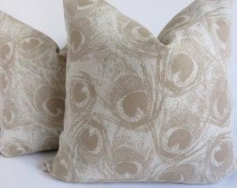 Plumage pillow cover,18x18,Natural plumage pillow, Plumage pillow, Pillow cover, Decorative pillow, Beige pillow, Plumage beige pillow