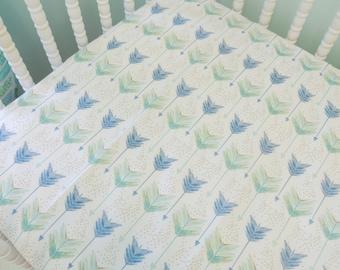Watercolor Arrow Navy and Aqua Arrow Print Crib Sheet, SHEET ONLY