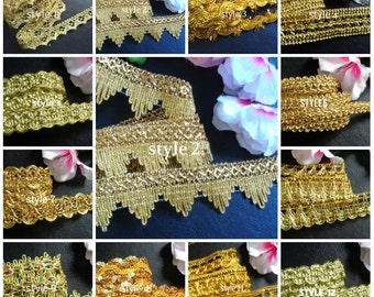Gold color braid select style and wide/selling by the yard