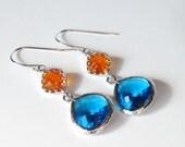 Sale, Fire Opal Earrings, Color Block Jewelry, Orange Earrings, Gift for Her, Winter Jewelry