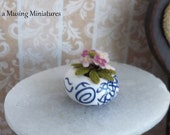 African Violet in Chinese Porcelain Container in 1 Inch Scale for Dollhouse Miniature Roombox