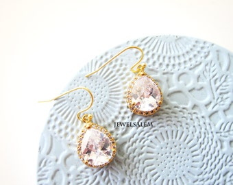 Bridal Earrings Gold Filled Crystal Wedding Jewelry for Bride Dangling Clear Glass Modern Elegant Bridesmaids Earrings Set Gift C1 JW