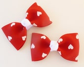 Red and white hearts hair bows --valentines day hair bows--2.5 inch tuxedo style hair accessories for baby toddlers and big girls