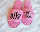 Monogrammed Slippers for Bridesmaid or Bridal Party available in 4 sizes;  Custom personalization with name or monogram